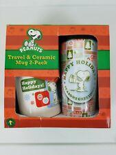 PEANUTS Snoopy Christmas Travel & Ceramic Mug 2-pack Boxed Set Holidays