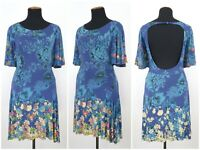 Womens Desigual Dress Blue Floral Print Viscose Stretch Short Sleeve Size M