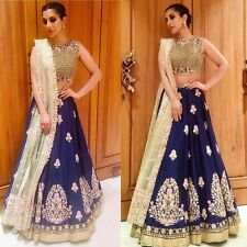 Bollywood Indian Navy Blue Lehenga Choli Party Wear Saree Pakistani Dress Lengha