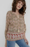 LUCKY BRAND Top  Sz S Paisley Border & Floral Print Peasant 3/4 Sleeve