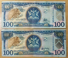 Trinidad & Tobago: 2 x $100 Dollars banknotes aVF Condition. Different signature