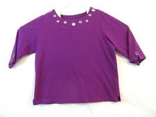 Quacker Factory size large top purple with rhinestone ring accents along neck