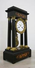 HUGHE ANTIQUE FRENCH EMPIRE COLUMN CLOCK SATINWOOD MARQUETRY GILT BRONZE PORTICO