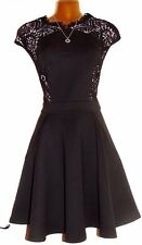 Stunning TED BAKER Black Vivace Lace Panel Scuba Skater Dress 2 UK 8 10 US 4 6
