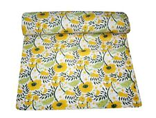 Kantha Hand Block Yellow Floral Bedspread Bedding Throw Blanket Quilt King Size