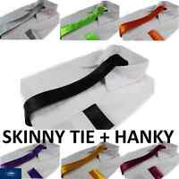 NECK TIE SET: SKINNY THIN NECKTIE & POCKET SQUARE HANKY WEDDING MENS PARTY