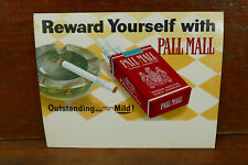 Vintage 1960's Pall Mall Cigarettes Cardboard Litho Tobacco Advertising Sign