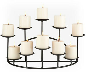 Pillar Candelabra 10-Candle Holder Free Standing Fireplace Stand Table Hearth