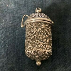 Antique solid silver thimble holder case for a chatelaine -  London 1892