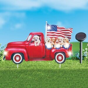 Solar Lighted 4th of July Golden Retriever Puppies In Pickup Truck Garden Stake