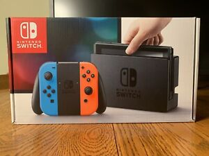 Nintendo Switch 32GB Gray Console with Neon Red and Neon Blue Joy-Con, Day 1, V1