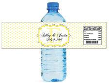 Yellow Swiss Monogram wedding anniversary Engagement Birthday Water Bottle Label