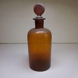 Bouteille flacon verre orange ambre vintage art déco maison cuisine France N7631