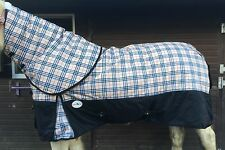 """BEIGE/BLACK CHECK MEDIUM WEIGHT 220GM FILL TURNOUT RUG WITH NECK 5'3"""" TO 7'0"""""""