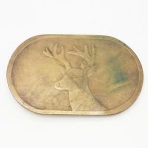 Belt Buckle Brass Deer Head Vtg