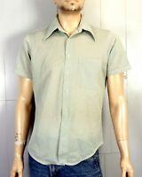 vtg 60s John Blair Fine Green Stripe Polyester SS Dress Shirt Big Collar sz L