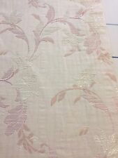 Curtain Sample Rem Fabric Blind Cushion Craft 60x83cm Cream Pink Leaves