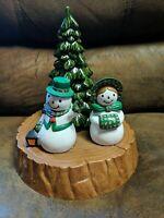 VTG Ceramic Handmade Mold Snowman Christmas Tree Family Scene
