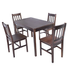 5PCS Solid Pine Wood Dining Set Table and 4 Chairs Home Kitchen Furniture Brown