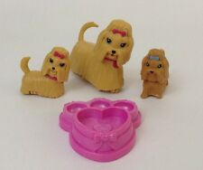 Barbie Park Fun Sliding Dogs Lot 3 Dogs Tan Pink with Accessories Barbie Toys