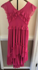 JoyFolie Mia Joy Girls Size 8 Hi Low Stretchy Zipper Maxi Dress Pink Boho Ruffle