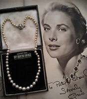 VINTAGE FAUX PEARL NECKLACE IRIDESCENT REALISTIC HAND KNOTTED STERLING CLASP