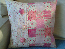 """*HANDMADE* PINK DITSY FLORAL PATCHWORK SHABBY CHIC CUSHION COVER 14""""X14"""""""