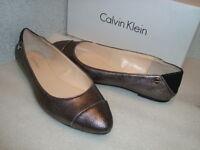 Calvin Klein Womens NWB Pritah Metallic Cross Gunmetal Flats 5.5 MED NEW