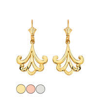 Solid Gold or 925 Sterling Silver Diamond Cut Filigree Leverback Earrings