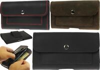 HANDCRAFTED LEATHER WAIST POUCH CASE COVER WITH 2 CARD POCKETS FOR SAMSUNG PHONE