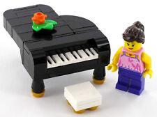 LEGO Piano schwarz, Klavierspielerin, Klavier, Klavierstuhl, Blumengesteck, NEU