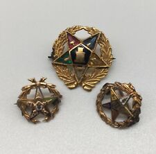 Vintage LOT of 3 ORDER of the EASTERN STAR pins enamel stones 10K marked old