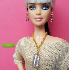 S895 Doll Jewelry For Silkstone Barbie Fashion Royalty Striped Cane Glass purple
