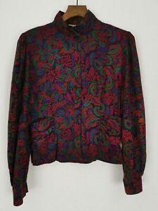 Vintage Richards Floral Button Up Blouse Shirt Size 14 Paisley Red Shoulder Pads