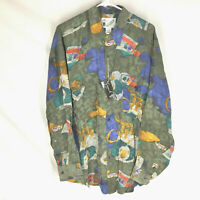 GOOUCH Men's Large Long Sleeve Shirt Silk Button Up 90's Abstract Art NWT VTG