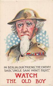 H95/ Patriotic Postcard c1910 Uncle Sam Berlin Uniform Signed Wall 237