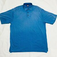 Footjoy FJ Golf Polo Shirt Short Sleeve Blue Stripe Stretch Poly Blend Mens XL