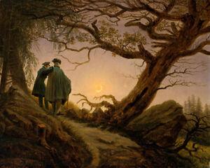 Two Men Contemplating the Moon (1830) Caspar David Friedrich wall art print