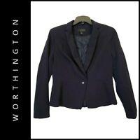 Worthington Women Career Formal Blazer-Suit Jacket Black Size 14