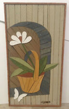 "Folk Art Painting Wood Lath Art Theodore DeGroot Flower w/Butterfly 30.5""x16.25"""