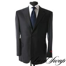 NWT $2995 Isaia Napoli Navy Blue Flannel Muted Stripe 2pc Base E Suit 54 NR WOW