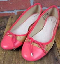 Lands End 7 B coral cork-like ballet flats leather inside and toes EXCELLENT