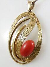 Beautiful 9ct Hallmarked Gold Carnelian Set Pendant Necklace