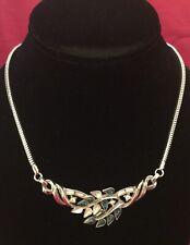 Vintage CROWN TRIFARI Figural Leafs Faux Sapphire&Diamond Paste Necklace. Signed