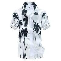 US Mens Hawaiian Casual Shirt Floral Beach Camp Shirt Button Down Tops Palm Tree
