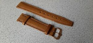 NOS Vintage Genuine Omega Tan Leather 18mm Watch Band with Omega Buckle