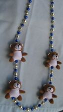 Adorable Vintage Child's Necklace  with Teddy Bears and Beads (9289)