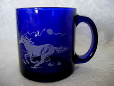 Unusual Collectible Cobalt Blue Glass Mug - Etched Horse & Sunset Scenic
