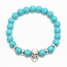 Men Women Natural Gemstone Beads Lava Rock Stone Bracelet Lion/Buddha Head Bead