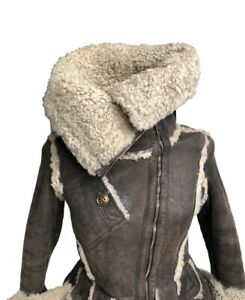 Burberry Prorsum Brown leather short aviator jacket with fur collar  US 6 IT 40